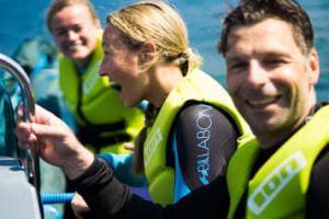 Anfänger und Fortgeschrittene Kitesurfer haben Spaß